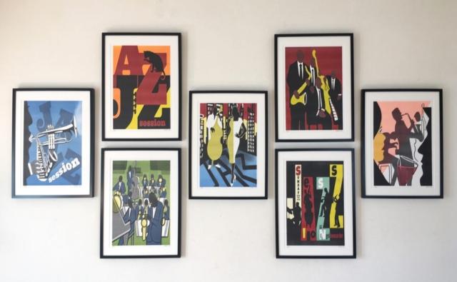 Victor de Boo Riso graphic RISO jazz serie prints. Beperkte editie van 25 genummerde en gesigneerde werken. cm inclusief houten lijst 85.-